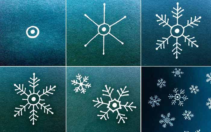 Как рисовать снежинка видео