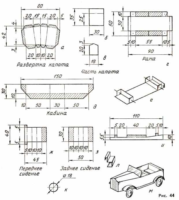 Автомобиль НАМИ-1, макет из бумаги