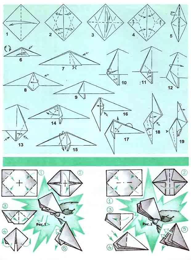 Оригами как сделать попугая из бумаги видео