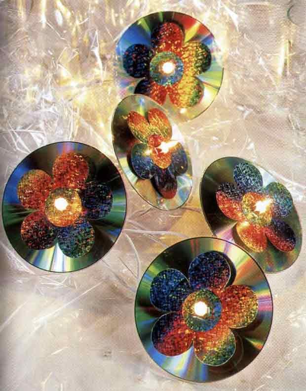 Чары цветов из компакт дисков