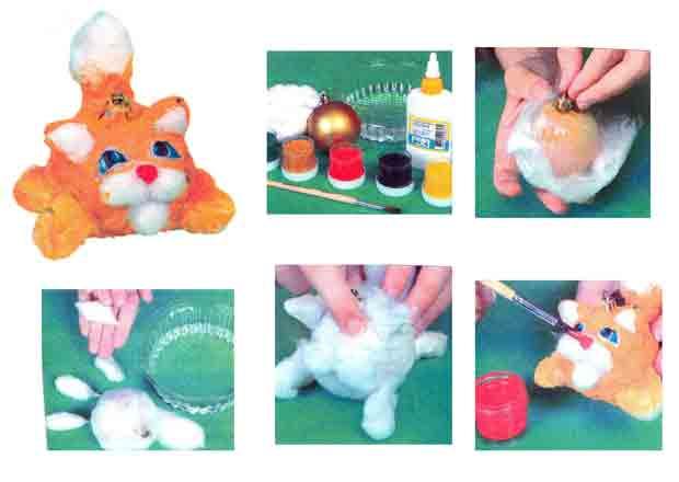 Котик - круглый животик, игрушка на ёлку своими руками