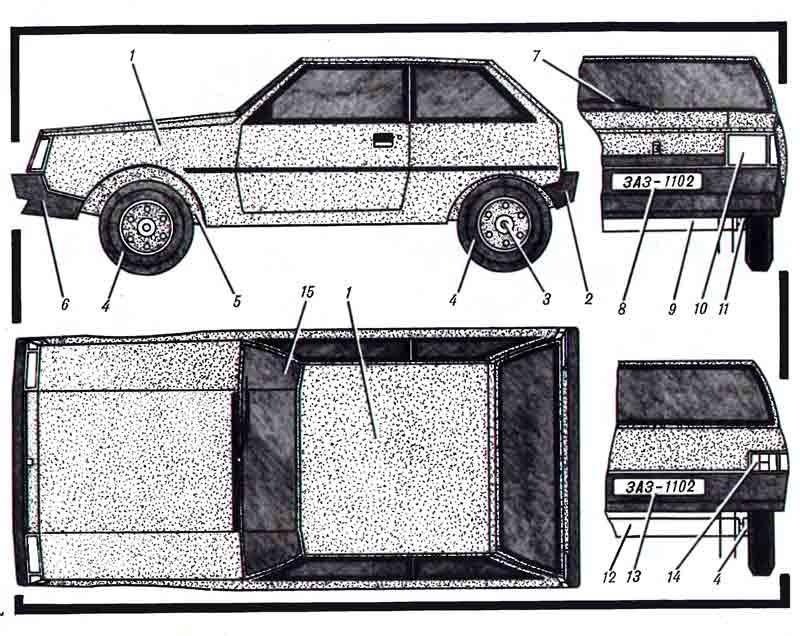 Семейная легковушка, ЗАЗ-1102, музей на столе