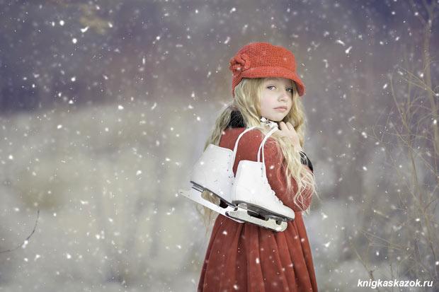 Снег, зима, девочка, коньки