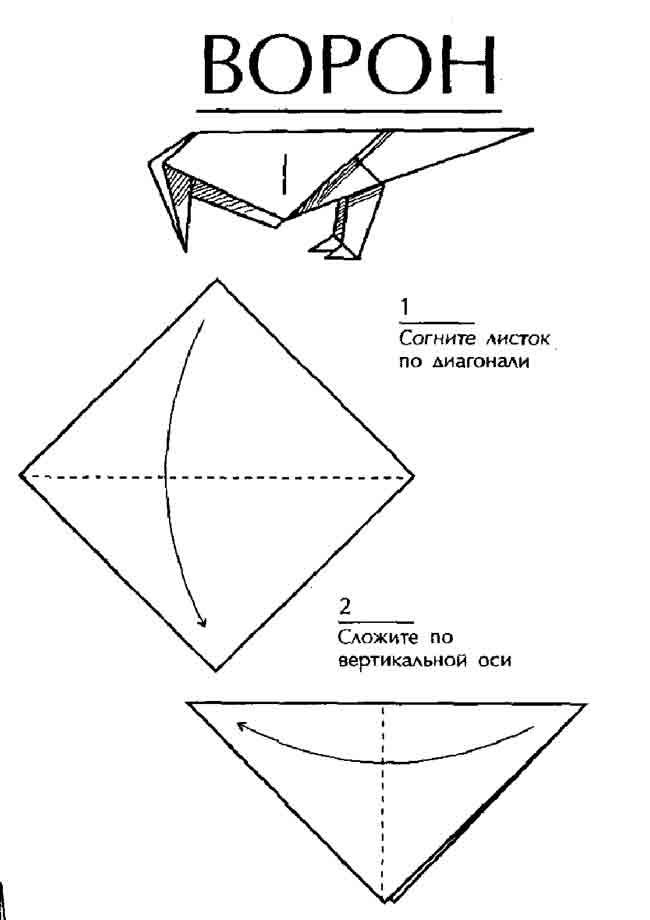 Схема оригами Ворон