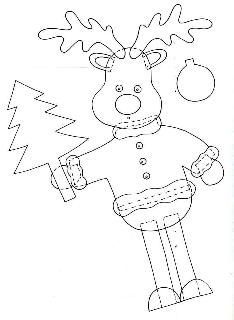 Праздничный новогодний олень с ёлкой, аппликация