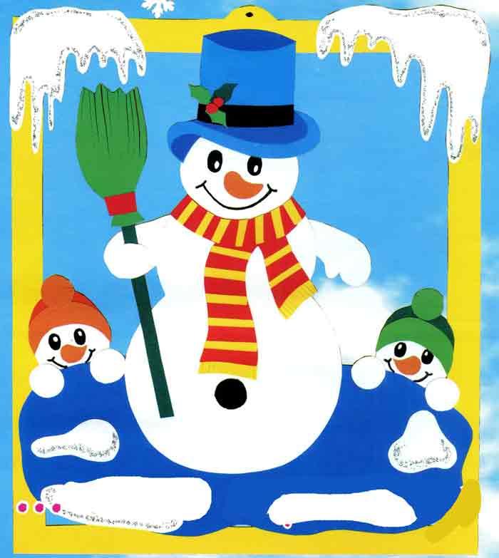Снеговики, аппликация