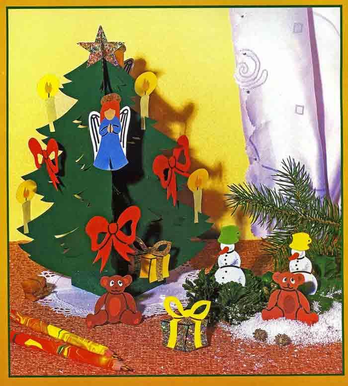 Новогодняя ёлка из картона и новогоднее украшение