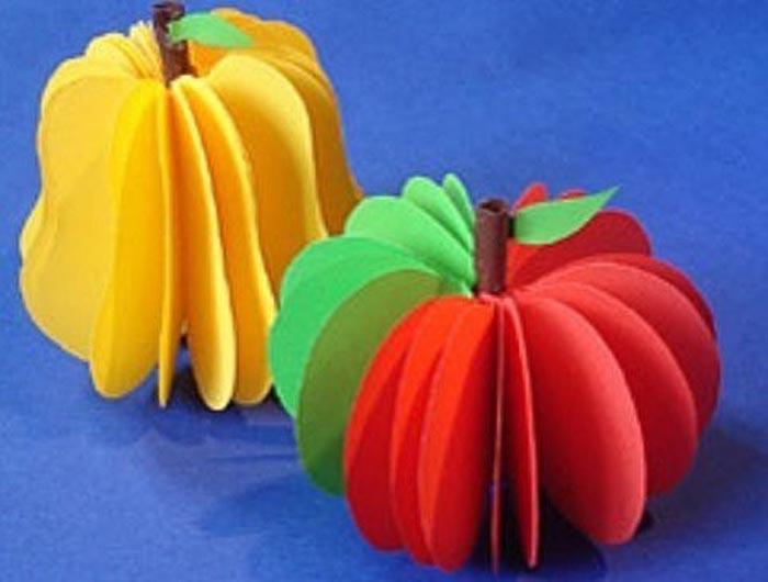 Объёмные фрукты из бумаги, игрушки на ёлку