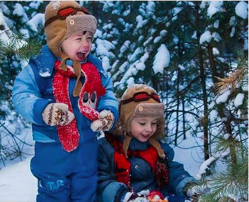 дети, зима
